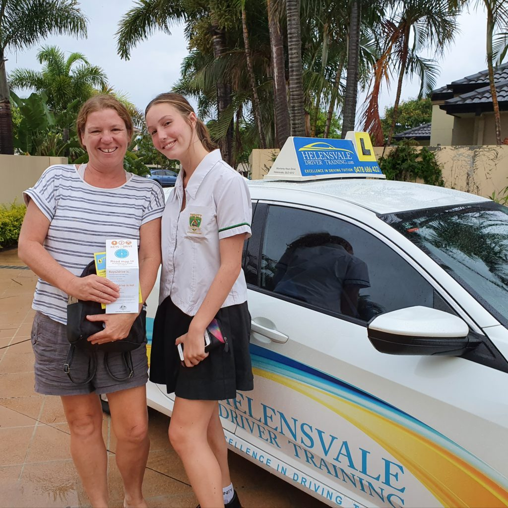 Our student and her mother smiling after the free keys2drive lesson.